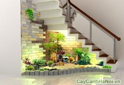 Thiết kế tiểu cảnh dưới gầm cầu thang giúp không gian sinh động hơn.