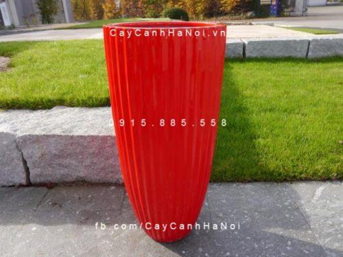 Chậu nhựa composite iPot tròn xọc dọc| IP-00030