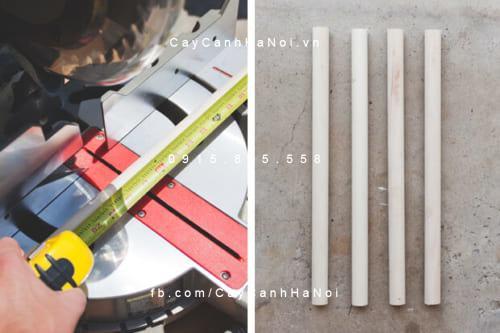 Cắt thanh gỗ thành 3 đoạn làm chân kệ